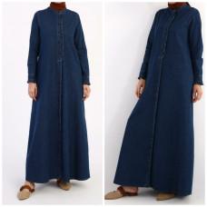 Джинсовое платье-халат на пуговицах